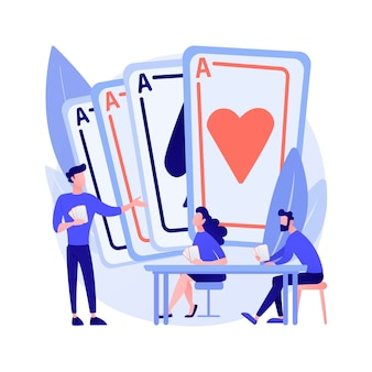 Zagraj w karty abstrakcyjne pojęcie ilustracji wektorowych. rodzinne gry karciane, spędzanie czasu, zabawa z przyjaciółmi, zajęcia w domu, legalna zabawa w hazard, abstrakcyjna metafora idei aktywności w domu.