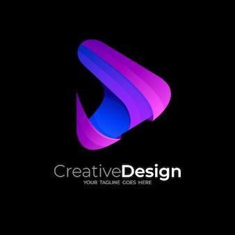 Zagraj w logo z kolorowym trójkątem, ikona technologii