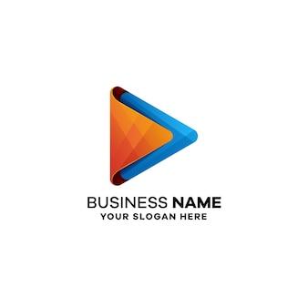 Zagraj W Szablon Kolorowe Logo Gradientu Premium Wektorów