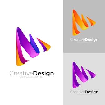 Zagraj w szablon projektu logo i trójkąta, kolorowy