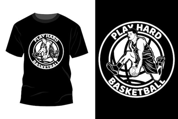 Zagraj w twardą sylwetkę koszulki do koszykówki w koszykówkę