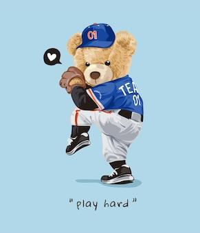 Zagraj w twardy slogan z lalką niedźwiedzia w ilustracji kostiumu miotacza baseballa