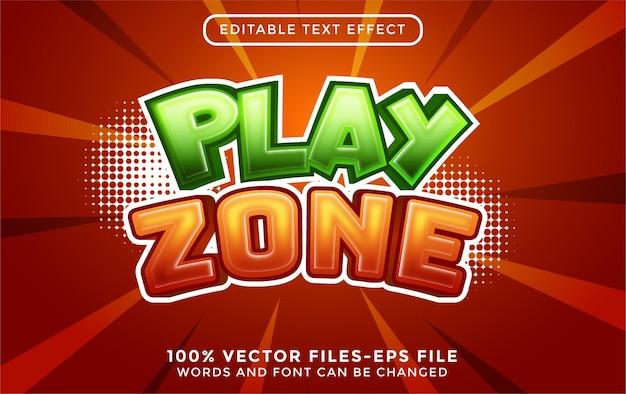 Zagraj w wektory premium w stylu kreskówki z edytowalnym efektem tekstowym dla dzieci