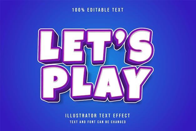 Zagrajmy, efekt edytowalnego tekstu 3d na białym tle na niebiesko