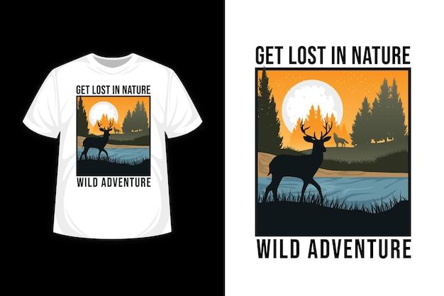 Zagub się w naturze dzikiej przygody ilustracja projekt koszulki