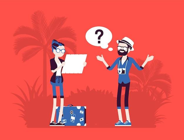 Zagubieni turyści w obcym kraju. osoby na wakacjach nie mogą znaleźć drogi, nie znają kierunku, źle planują trasę, nawigację, problemy językowe. ilustracja z postaciami bez twarzy