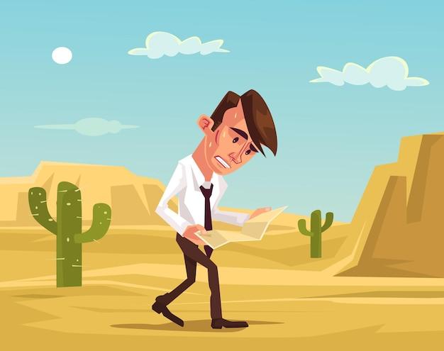 Zagubiony człowiek. biznesmen stracił na pustyni