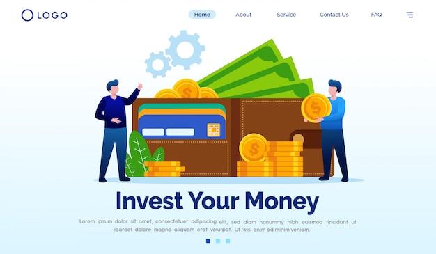Zainwestuj swoje pieniądze docelowej strony płaski szablon wektor