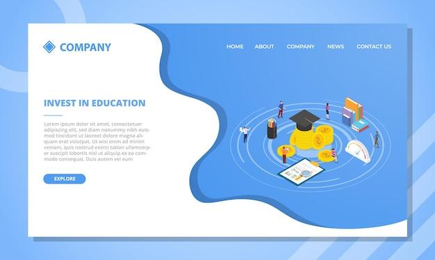 Zainwestuj w koncepcję edukacji dla szablonu strony internetowej lub projektu strony głównej docelowej z ilustracji wektorowych w stylu izometrycznym