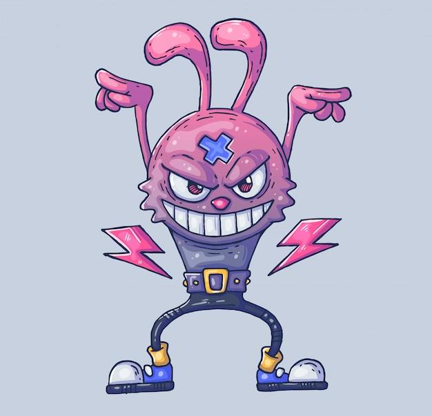 Zając jest gwiazdą rocka. arogancki królik w stromej pozycji. ilustracja kreskówka postać w nowoczesnym stylu graficznym.