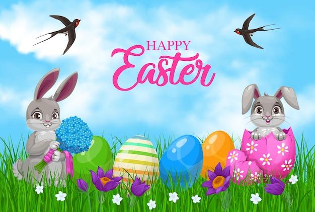 Zające wielkanocne z jajkami i kwiatami
