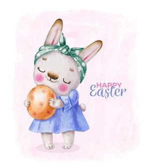 Zajączek w sukience z jajkiem w stylu cartoon