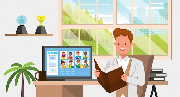 Zajęcia edukacyjne online na odległość podczas koronawirusa. koncepcja dystansowania społecznego, izolacji i pozostawania w domu. nr 7