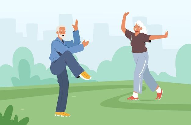 Zajęcia grupowe tai chi dla osób starszych. starsze postacie ćwiczące na świeżym powietrzu, zdrowy styl życia, trening elastyczności ciała. emeryci i renciści poranny trening w parku miejskim. ilustracja kreskówka wektor