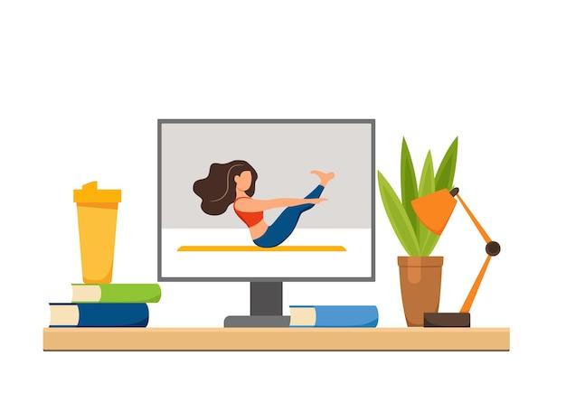 Zajęcia jogi online fitness koncepcja wektor. zostań w domu dziewczyna robi ćwiczenia patrząc na ekran kreskówka płaski ilustracja. koncepcja projektowania zdrowego i dobrego stylu życia z kobietą w domowym wnętrzu