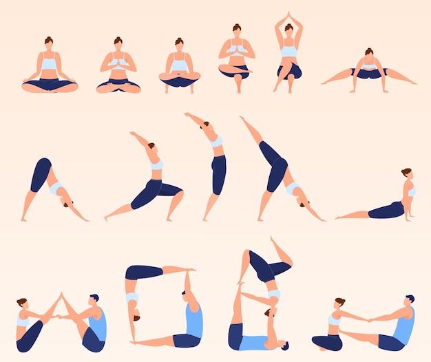Zajęcia jogi, różne pozy, zajęcia w parach. zrelaksuj się, ćwicz. ilustracja wektorowa