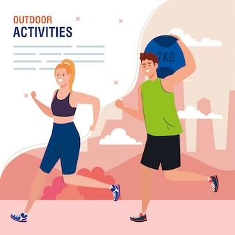 Zajęcia na świeżym powietrzu, młoda para ćwiczeń, rekreacja sportowa