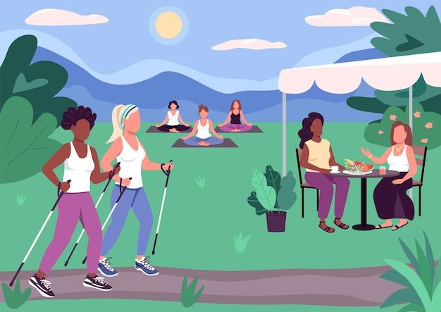 Zajęcia na świeżym powietrzu płaski kolor. chód sportowy. przyjazne spotkanie z piknikiem. relaks i opalanie. grupowe zajęcia jogi 2d postaci z kreskówek bez twarzy z parkiem w tle