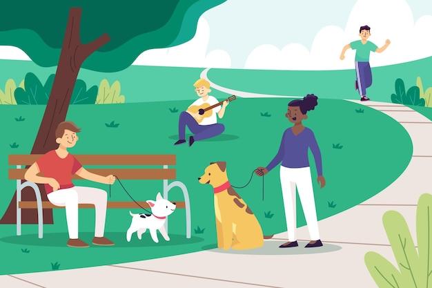 Zajęcia na świeżym powietrzu w parku