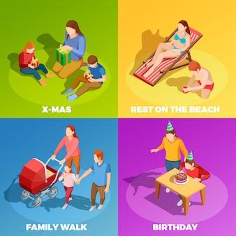 Zajęcia rodzinne 4 plac ikon izometrycznych