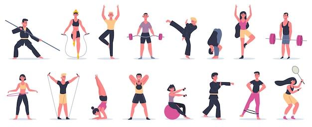 Zajęcia sportowe w zakresie fitness. ludzie trenujący, męskie postacie kobiece wykonujące sport, sztuki walki i zestaw ikon ilustracji jogi. sztuka walki i jogi, odzież sportowa i sprzęt sportowy