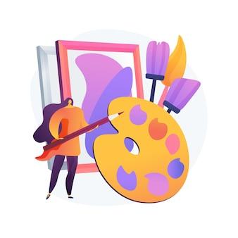Zajęcia w pracowni artystycznej. lekcja malarstwa, nauka rysunku, warsztaty malarskie. twórczy pomysł na zawód i czas wolny. artysta z pędzlami i paletą.