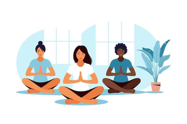 Zajęcia yogi. medytacja. trening grupowy. płaska ilustracja.