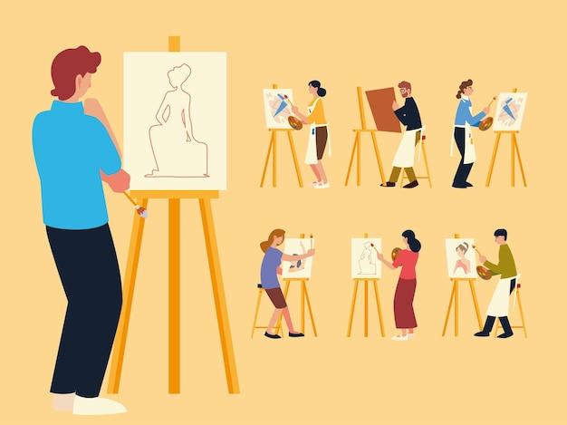 Zajęcia z malarstwa, grupa osób malujących, rysujących i wykonujących prace plastyczne