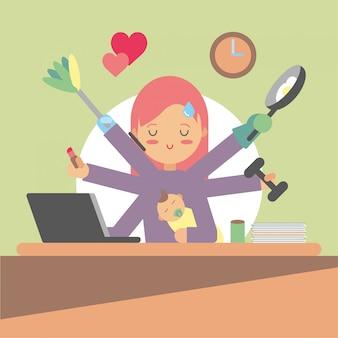 Zajęta kobieta robi wiele rzeczy