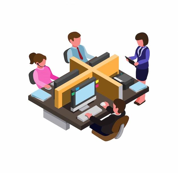 Zajęte biuro w miejscu pracy, do pracy zespołowej lub początkowej sytuacji biznesowej. plansza, symbol, ikona w rzucie izometrycznym płaski