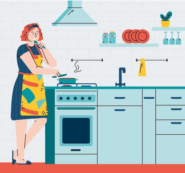 Zajęty gospodyni domowa kobieta gotowanie w domu kuchnia wnętrza płaskie ilustracja