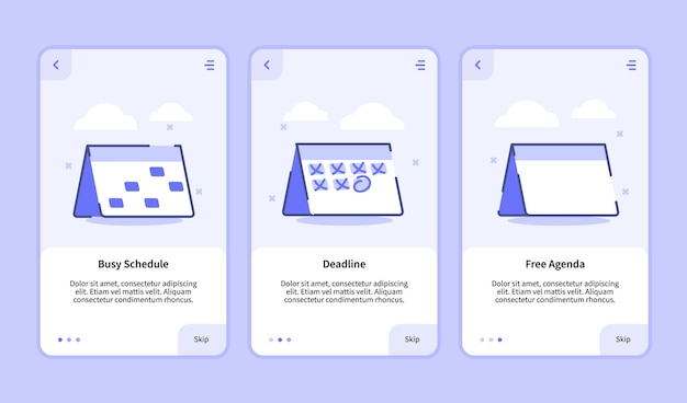Zajęty termin harmonogramu darmowy ekran wprowadzania planu dla aplikacji mobilnych szablon strony baneru ui