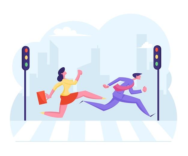 Zajęty tłum miejski przenosi się do biznesmena i bizneswoman na przejściu dla pieszych