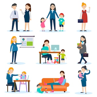 Zajęty zestaw matki i kobiety w ciąży