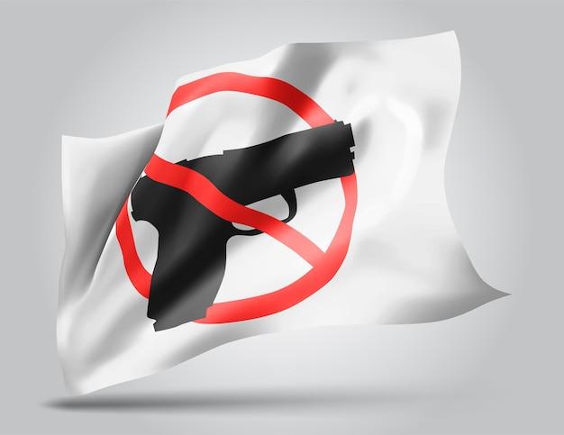 Zakaz broni, wektor flaga 3d na białym tle