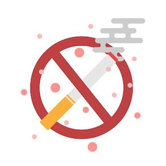 Zakaz palenia papierosów i znak, ikona papierosa