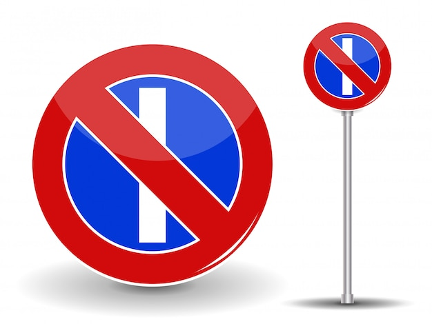 Zakaz parkowania. czerwony i niebieski znak drogowy. ilustracja.