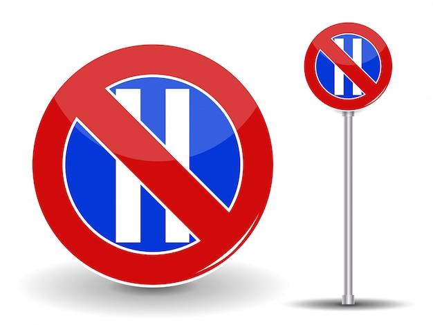 Zakaz parkowania. czerwony i niebieski znak drogowy.