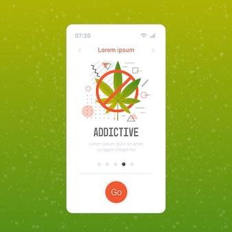 Zakaz znak narkotyków ikona zakazu marihuany zatrzymać zużycie narkotyków koncepcja smartfon ekran aplikacji mobilnej kopia miejsce