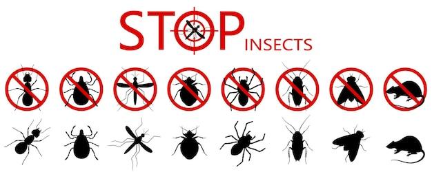Zakaz zwalczania szkodników, zakaz pasożytniczych owadów. zatrzymaj, ostrzeżenie, zestaw ikon zabronionego błędu. nie, zabronić oznak karaluchów, pająków, much, roztoczy, kleszczy, komarów, mrówek, szczurów, robaków
