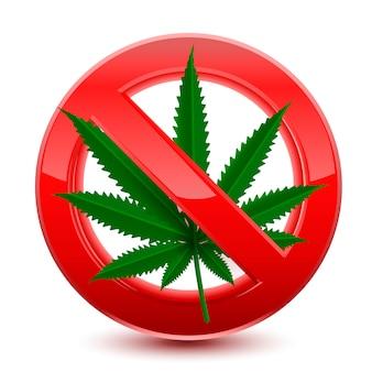 Zakazane marihuany czerwony znak
