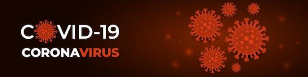 Zakażenie koronawirusem komórki covid-19 ciemnoczerwony sztandar.