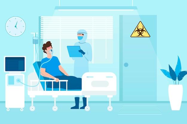 Zakażony pacjent covid-19 odpoczywa w sali podciśnieniowej w szpitalu