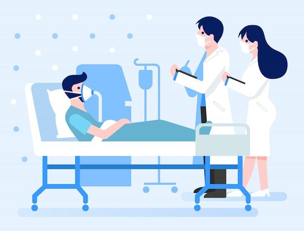 Zakażony pacjent covid-19 odpoczywa w sali podciśnieniowej w szpitalu.