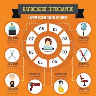 Zakład fryzjerski infographic pojęcie.