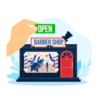 Zakład fryzjerski otwarty, ilustracja. salon fryzjerski, fryzura mężczyzny z kreskówki. pracownik fryzjerski postać z kreskówki