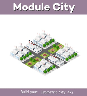 Zakład izometryczny w rzucie trójwymiarowym obejmuje fabryki, budynki przemysłowe, kotły, magazyny, hangary, elektrownie, ulice, drogi, drzewa. infrastruktura miejska metropolii miejskiej.