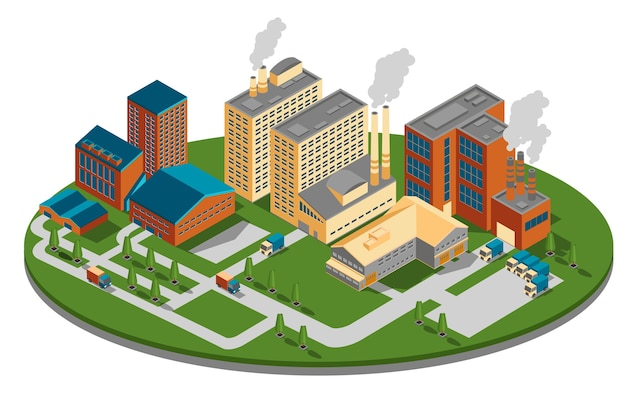 Zakład lub fabryka w widoku izometrycznym