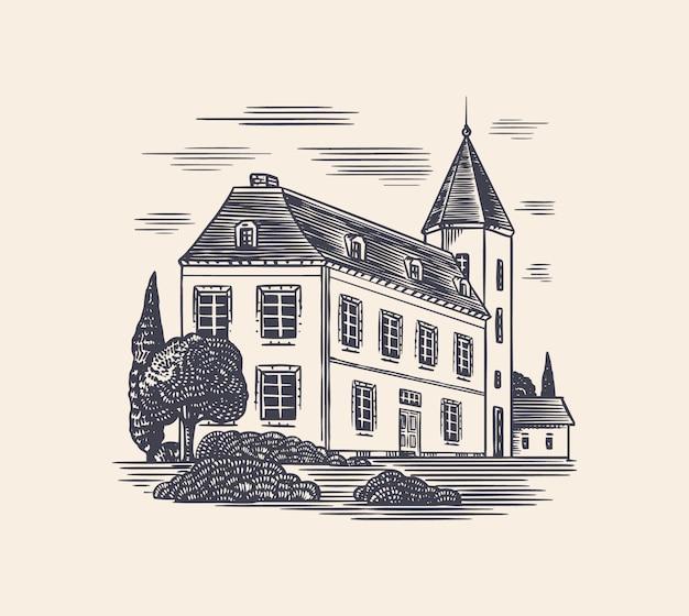 Zakład produkcji alkoholu. zamek koniakowy. grawerowane ręcznie rysowane szkic vintage. styl drzeworyt. ilustracja