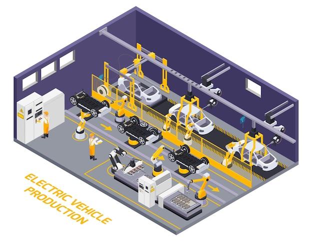 Zakład produkcji pojazdów elektrycznych wnętrze zrobotyzowanej linii montażowej zdalnie sterowany element przenośnika taśmowego widok izometryczny